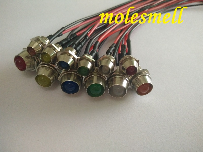 Diodes Chrome Bezel Holder Light Red Yellow Blue Green White Orange Warm White Diffused Electronic Components & Supplies 5pcs 3mm/5mm 5v Dc Pre-wired Diffused Led