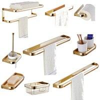 Leyden Solid Brass Bath Hardware Sets Gold Finish Wall Mounted Tolilet Brush Holder Towel Ring Paper Holder Bathroom Accessories