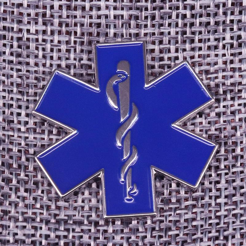 Star of life diabetic medical alert badge dentist brooch doctor nurse patient gift SOS symbol jewelry coat shirts enamel pin(China)