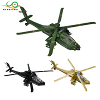 MYHOESWD AH 64 Apache Alloy Pull Back Airplane Model Funny Kids Toys for Boys Weapon Toy Military Helicopter Wind Up Toys Metal