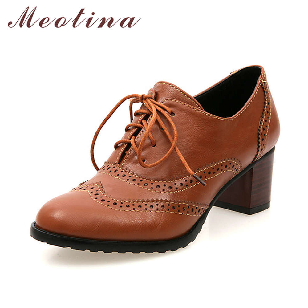 Meotina Shoes Women Chunky Heels Causal Shoes Lace Up Pumps Vintage Mid Heels Carved Ladies Shoes Brown White Plus Size 42 43 2017 genuine leather women pumps cut out lace up chunky heels handmade vintage women shoes