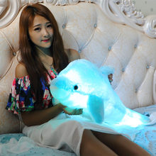 2015Colorful LED dolphin plush toy dolls cute sleeping pillow creative birthday gift