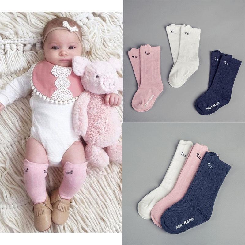 2017 Cute Cartoon Soft Cotton Baby Kids Girls Socks Toddler Knee High Socks Tight Leg 0-4Y Warm Socks