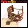 Retro Multi - camada de PU falso couro tecido Charm Bracelet homens mulheres do amor do coração corda trançada pulseiras Bangles jóias masculino feminino