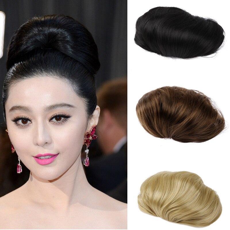 1PC Hair Bun Synthetic Bun Hair Chignon Hair Piece Women Braided Chignon Extension Draw String ...