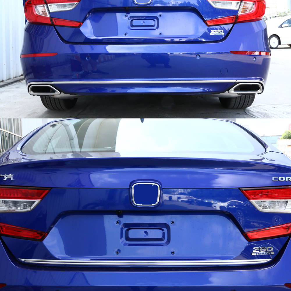 JY SUS304 Stainless Steel Rear Gate Lower Trim + Rear Bumper Protector Lower Trim Car styling Accessories For HONDA ACCORD 2018-in Interior Mouldings from Automobiles & Motorcycles    1