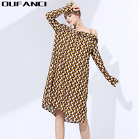 OUFANCI 2017 Midi Sukienka Animal Print Off Ramię Szyfon Sukienka dla Kobiet Moda Sexy Długim Rękawem Luźne Letnie Sukienki Vestidos