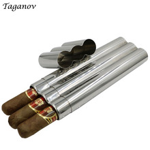 304 Stainless Steel Three Cigars Tube Box Mirror Polished High Quality Portable Cigar Accessories contain 3 cigars men best gift