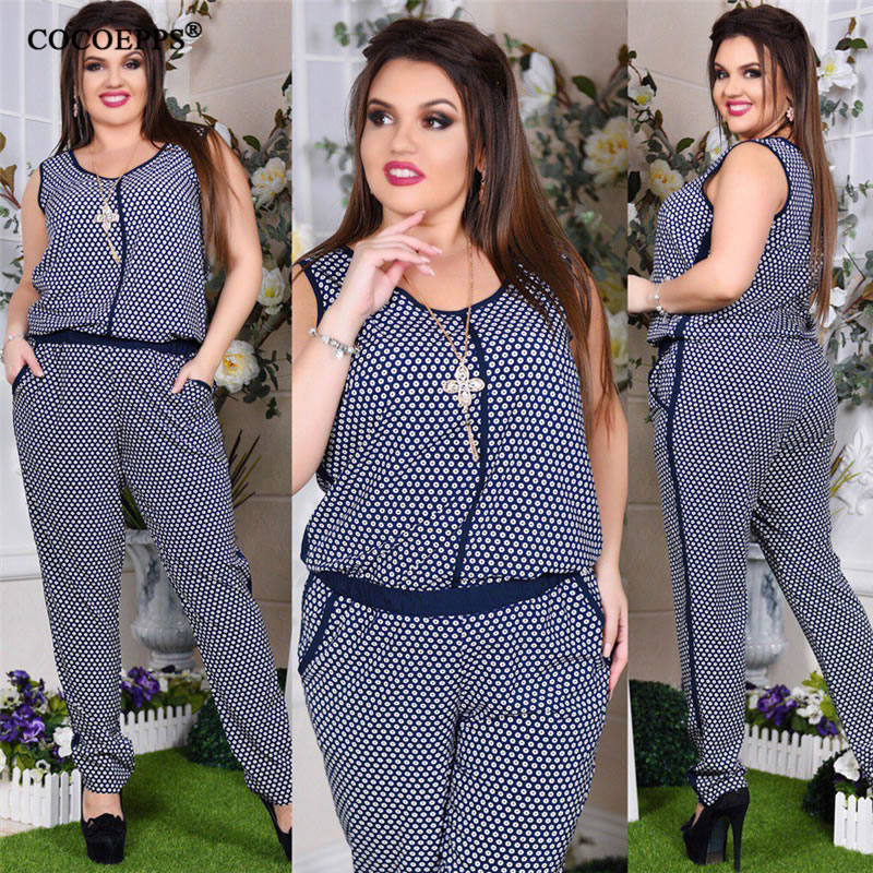 5XL 6XL Plus Size Summer Women   Jumpsuit   Floral Print 2019 Sleeveless Big Size Romper overall Casual Female Large Size   Jumpsuit