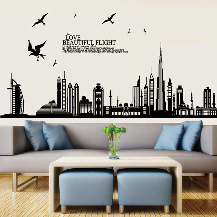 Building Skyline Wall Decal City Silhouette England Dubai Scape Wall Decal Murals Living Room Office Wall Art Rotterdam Skyline
