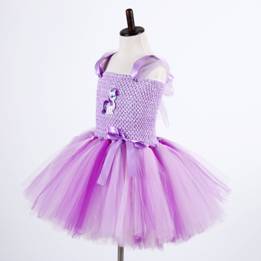 Girls Tutu Dress With Polyester Crochet Top Stretched No Lining