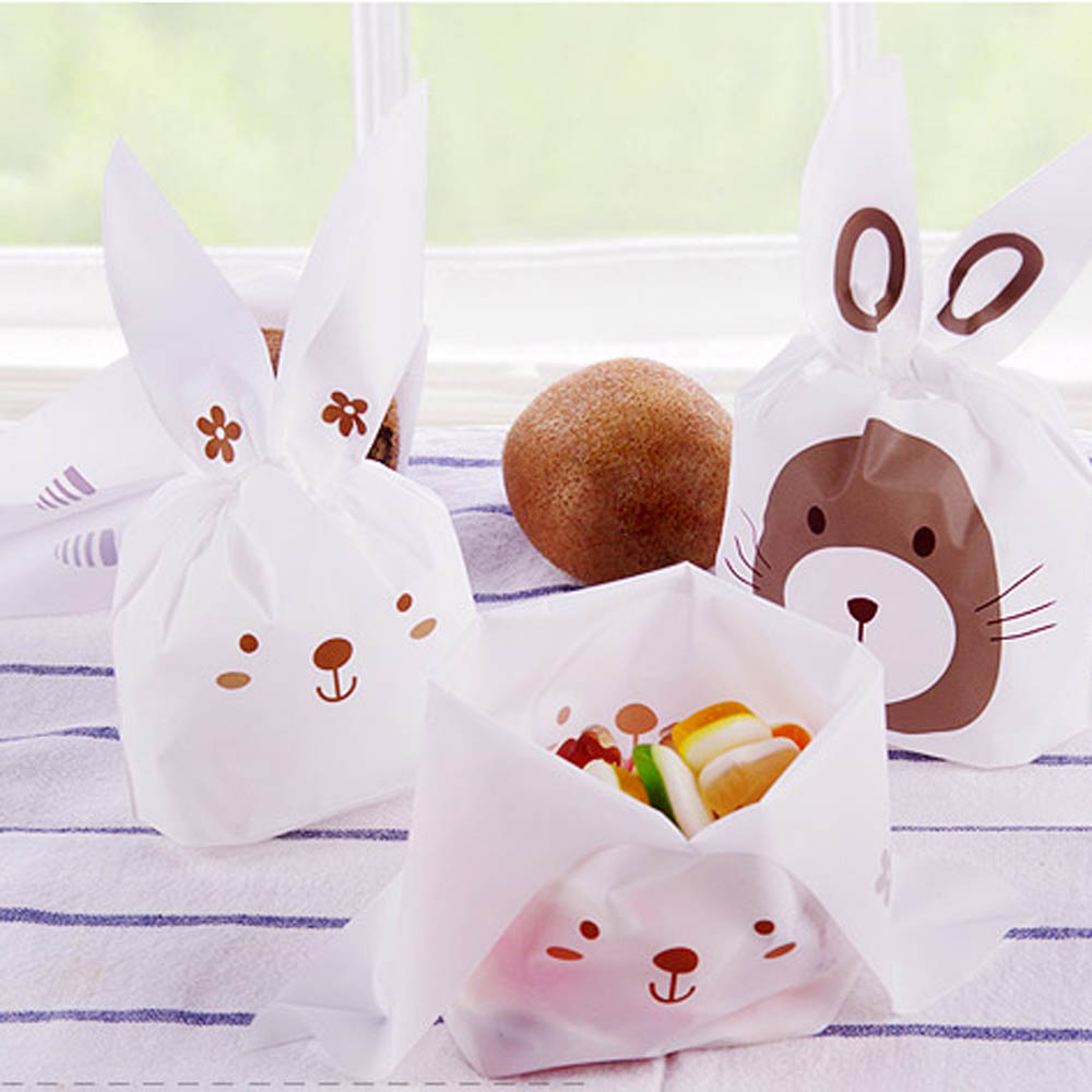 20pcs/lot Cute Rabbit Ear Biscuit Bag Moisture Proof Plastic Candy ...
