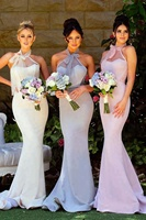 New Elegant Long Bridesmaid Dress Pink Halter Mermaid Long Formal Dresses With Bow Tie Custom Made Wedding Party Gowns