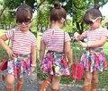 SQ193 Бесплатная доставка 2015 новое прибытие девушки комплект одежды рубашка + юбка 2 шт.. детская одежда костюмы девушки одеваются розничная