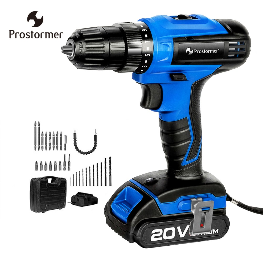 Prostormer 20V Cordless Drill 2000mAh lithium Battery Electric Screwdriver 35NM Mini Drill 1h Fast Charger Wireless Power DriverProstormer 20V Cordless Drill 2000mAh lithium Battery Electric Screwdriver 35NM Mini Drill 1h Fast Charger Wireless Power Driver