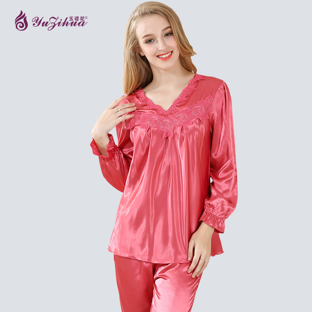 560dab0251 Women Nightwear Ladies Sexy Flower Lace Satin Silk Pajamas Sets Long Sleeve  Tops+Pants Sleepwear Mujer Pyjama Femme Plus Size