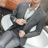 Men Suits Groom Wedding Suits For Men Bridegroom Grey Slim Formal Business Blazer Suits Sets Prom