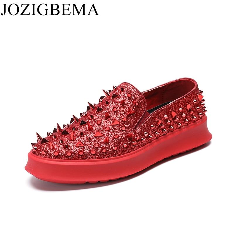 Luxo De Deslizamento Dourado Vermelho Loafers Spikes Mocassins Shoes vermelho ouro Rebites Glitter Jozigbema Homens Preto Flats Sapatos Shinny Preto Ouro Em Casuais wCIOqt
