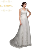 Линия Тюль Свадебные платья с Венеция Кружева Аппликации Для женщин Люкс Свадебное платье плюс Размеры включены