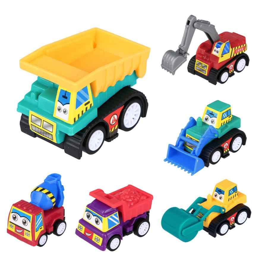 2018 hot sale 6PC Baby Kids Cute Twist Forward Movement Engineering Car Educational Toys baby loving Mar 30