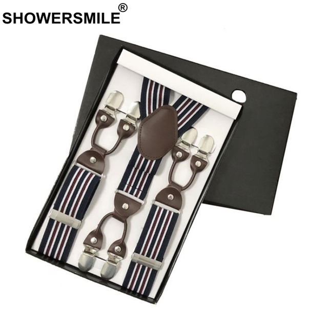 053e338b3c7 SHOWERSMILE Wide Striped Drop Clip Suspenders Genuine Leather Men Business  Dress Male Striped Suspender For Pants