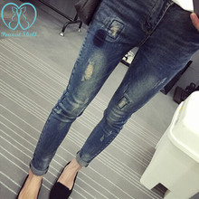 Elastic Waist Hole Stretch Denim Maternity Belly Jeans Autumn Spring Pants Clothes for Pregnant Women Pregnancy Pencil Trousers cheap SexeMara CN(Origin) Natural Color Distrressed White Light Stonewashed skinny Polyester Cotton Stretch Spandex spring and autumn