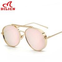 DILICN Gold Metal Sun Glasses Women Twin Beam Mirror Lens Sunglasses Men Steampunk Goggles Polarized Oculos