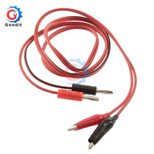 Alligator Test Lead Clip To AV Banana Plug Connector TO Dual Tester Alligator Clip Probe Cable 1M(China)