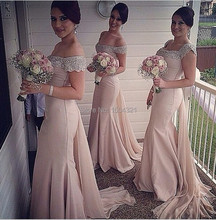 Vestidos De Fiesta 2015 Elegant Pink Mermaid Long Bridesmaid Dresses with Sleeves Scoop Neck Court Beaded Wedding Party Dress