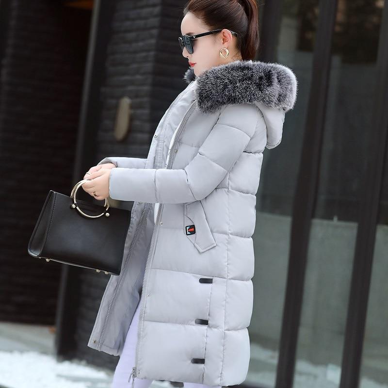 New 2017 Winter Fashion Parkas Slim Big Fur Collar Hooded Coat Letter Print Long Thicken Warm Female Jackets Plus Sizes Outwears plus size letter print hooded sweatshirt dress