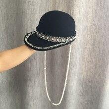 Новая зимняя тканевая конная Женская Модная элегантная милая маленькая черная бейсболка, шапка джокер