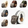 2016 de alta calidad de los hombres 120 cm cinturones de lona militar de la correa de metal hebilla de los pantalones vaqueros de la marca de moda deportes Ejército Verde negro rayas para hombres