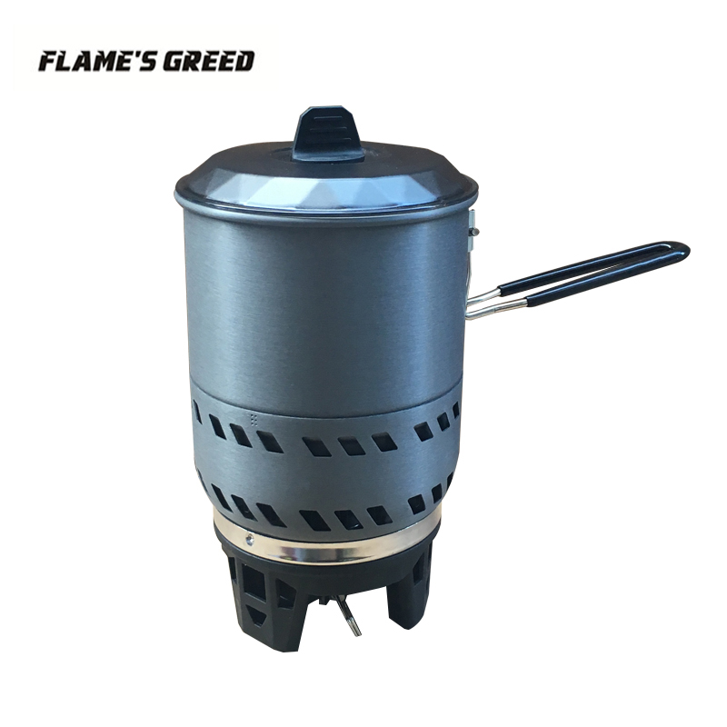 FLAME'S CREED 1.6L une pièce 2-4 personnelle Camping poêle échangeur de chaleur Pot camping équipement set Flash système de cuisson personnelle
