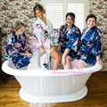 Novia de La Boda de dama de Honor de Satén de seda Robe Kimono Robe Albornoz Floral Corta Noche Bata Bata Bata de Baño de Moda Para Las Mujeres