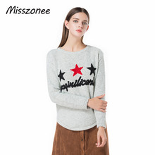 Misszonee Women O-Neck Knitted Sweater Female Knitted Slim Pullover Ladies all-match Basic Thin Long Sleeve Shirt Clothing