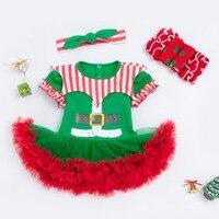 Christmas Boy Girls Short Sleeve Bodysuits Newborn Cartoon Jumpers Children Climbing Clothes Green Headwear Knee Pockets