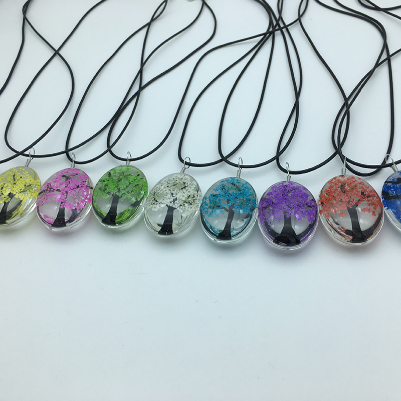 Purple Current Dried Flowers Bead Bottle Round Glass Necklace Pendant Flowers
