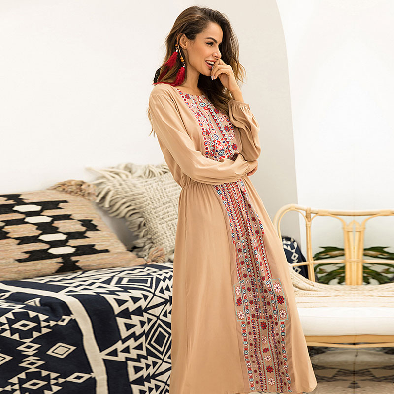 Summer Elegant Muslim Print Long Beach Dress For Women Long Sleeve Full Long Robe Clothing Casual Sexy Dresses New 2019 in Dresses from Women 39 s Clothing