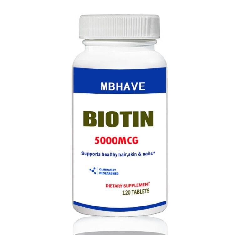 Biotina 5000 mcg 120 Comprimidos Força Máxima Suporte Da Pele Do Cabelo e Unhas
