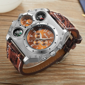 Image 4 - Oulm Unique Designer Brand Male Sports Watch Multiple Time Zone Quartz Watches Big Face Casual Wristwatch Mens Military Watch