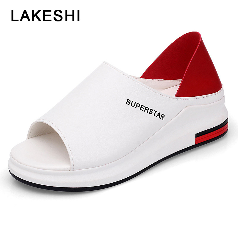 LAKESHI Women Casual Flat Shoes Peep Toe Summer Women Shoes Breathable Wearing Outside Sandals Non-slip Ladies Shoes xq new breathable cloth shoes fashion women hollow out summer casual shoe air mesh flat shoes sandals non slip ladies shoes s102
