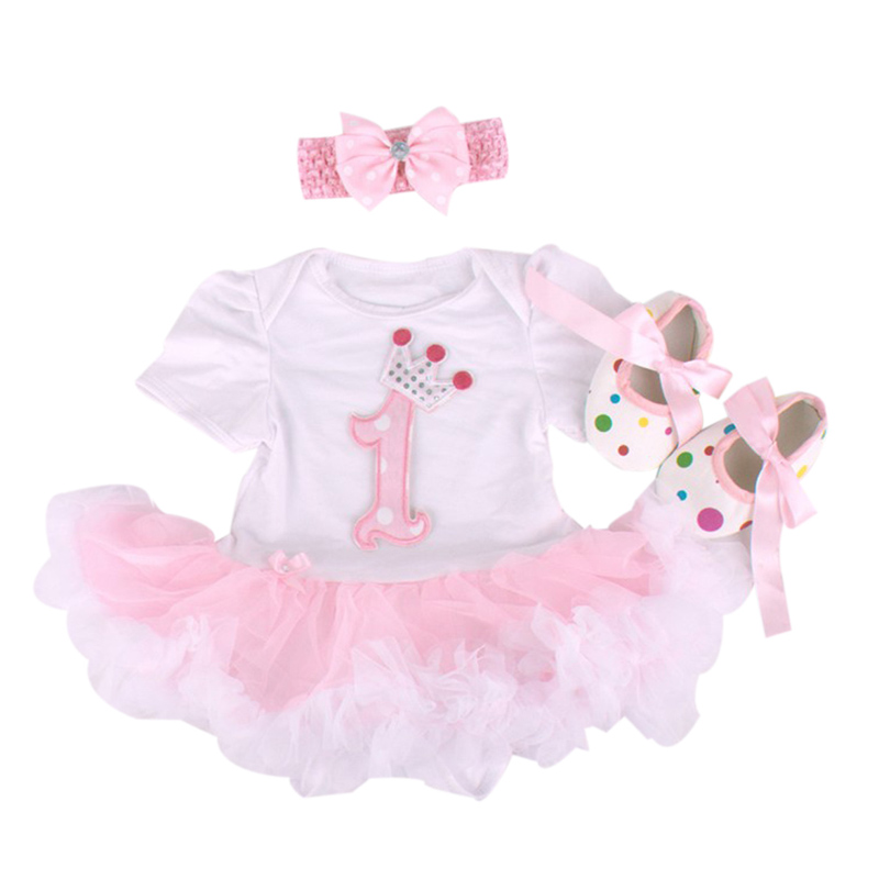 Baby Rompers 3PCs Infant Clothing Set Baby Girls White Pink 1st Birthday Tutu Dress Jumpersuit Headband Shoes