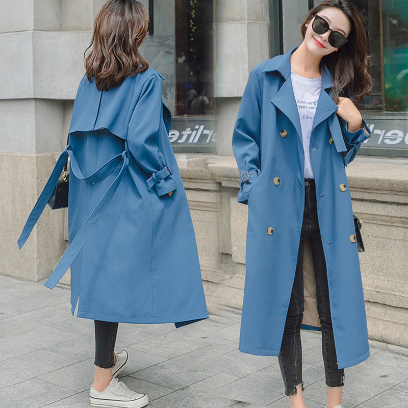 Female Solid Medium Long   Trench   With Belt Women Full Sleeve Double Breasted Coat Blue Khaki Street Casual Korean Style Fashion