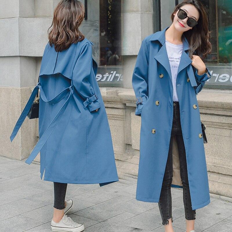Femelle Solide Moyen Long Trench Avec Ceinture Femmes Pleine Manches Double Breasted Manteau Bleu Kaki Rue décontracté style coréen De Mode