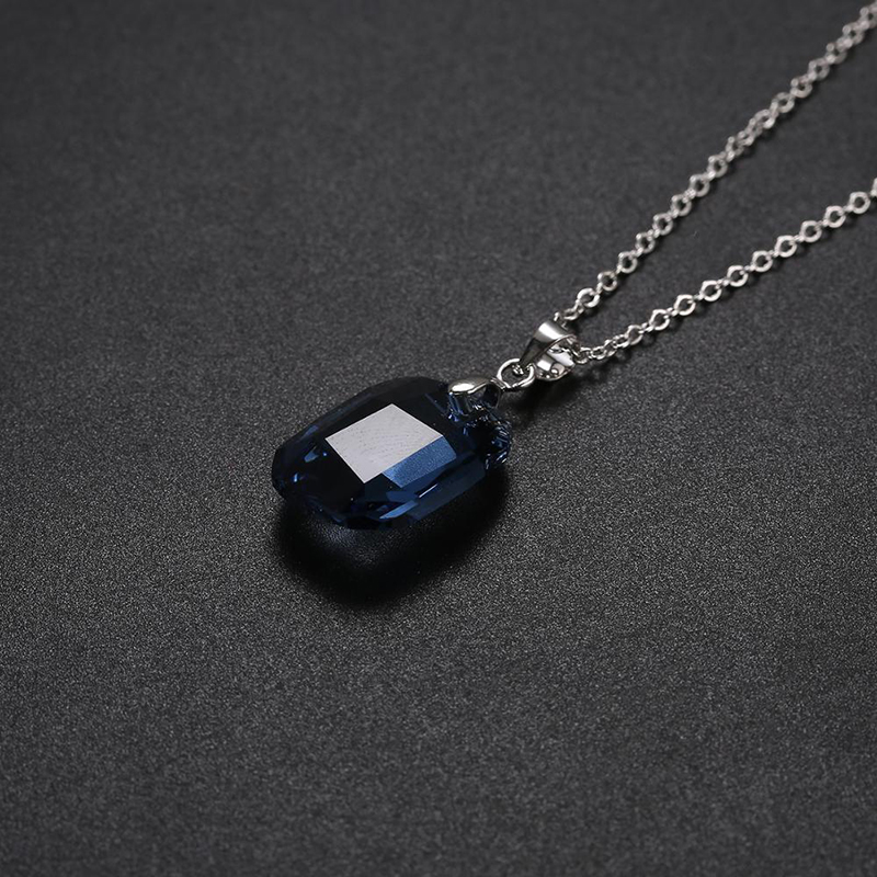 Bulage New Blue Crystals From Swarovski Square Jewelry Set Graphic Pendant Necklace Dangle Earrings Silver Color For Women Gifts in Jewelry Sets from Jewelry Accessories