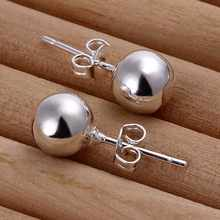 New Love Sears Balls Metal Earrings 925 Jewelry Silver/Gold Color 8mm round Beaded Ball Stud Earrings for Women Best Gift(China)