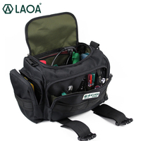 LAOA 15inch Double Layers Thicken Electrician Repair Bag Tour Bag Oxford Fabric Waterproof Wear Resisting Tool