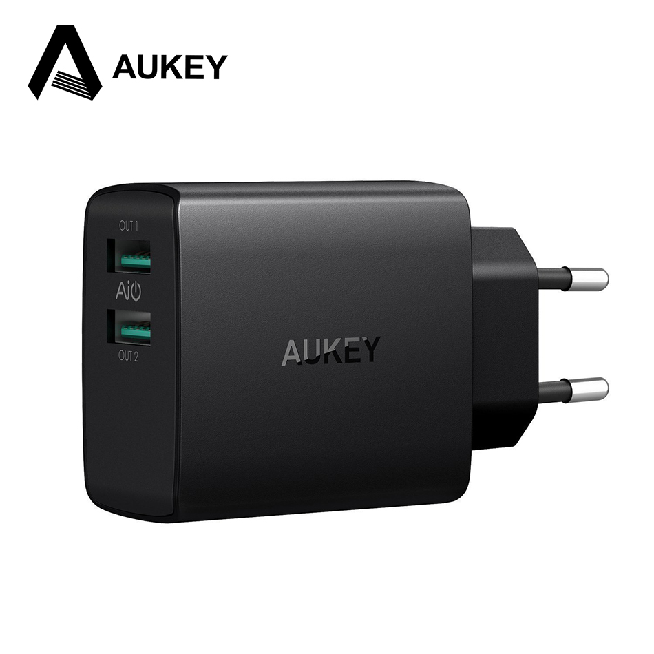 AUKEY USB Phone Charger 4.8A Dual USB Fast Wall Mobile Phone Charger For iPhone X 8 Plus iPad Samsung Galaxy S9 S8 Xiaomi Tablet