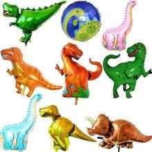 Гигантский динозавр фольгированный шар для мальчиков воздушные шарики в виде животных Динозавр День Рождения Вечеринка Юрского периода украшения шар мультфильм шляпа