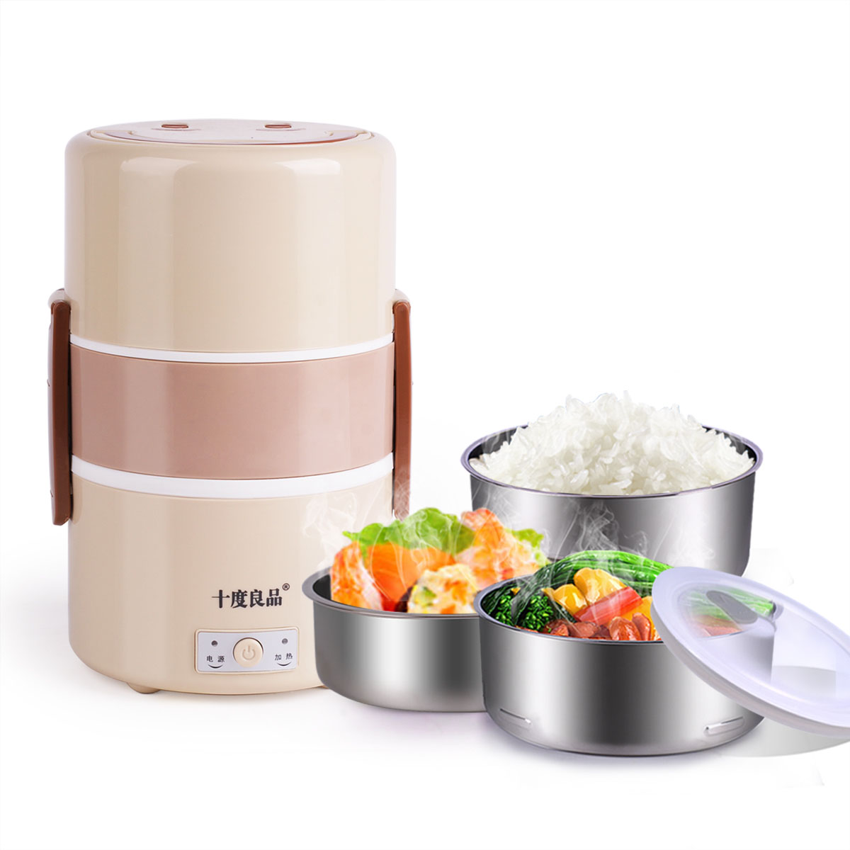 Electric Lunchbox Plug In Insulation Heating Lunch Box Stainless Steel Three Layers Steamed Rice 1.8L 1-2 PeopleElectric Lunchbox Plug In Insulation Heating Lunch Box Stainless Steel Three Layers Steamed Rice 1.8L 1-2 People